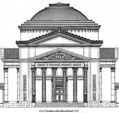 McKim, Mead & White: Library at new York University Building Illustration, Illustration Sketches, Drawing Sketches, Baroque Architecture, Classical Architecture, Architecture Details, York University, Beautiful Drawings, North America