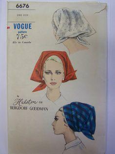 Vintage 1960s VOGUE 6676 HALSTON HAT Pattern one sz Complete by RaggsPatternStash on Etsy