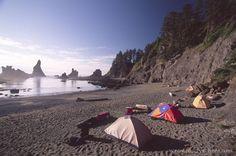 Tent Camping at Shi Shi Beach, Olympic National Park, Washington, US