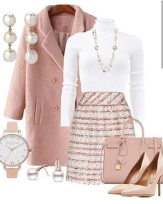 Blush pink winter coat and skirt ensemble with matching handbag and heels fashion classy classyoutfits ootd outfitideas workoutfits womensfashion fashionoutfits fashionista winteroutfits winterfashion stylegoals coat coatforwomen maxinnehope Classy Outfits, Chic Outfits, Fall Outfits, Fashion Outfits, Womens Fashion, Fashion Heels, Travel Outfits, Woman Outfits, Holiday Outfits