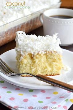 Serve this Coconut Cream Poke Cake at your next family potluck. This recipe is easy and delicious!