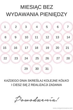 Miesiąc bez wydawania pieniędzy ZORGANIZOWANA Money Saving Challenge, Saving Money, Mood Pics, Budgeting, Life Hacks, Homeschool, Challenges, Bullet Journal, Writing