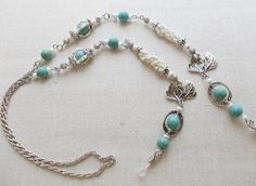 Turquoise glasses chain necklace White silver eyeglass chain Eye glass chain Reading eyeglass holder Eye glass lanyard  Artisan jewelry