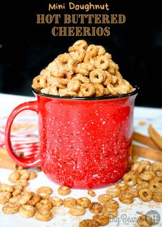 These Mini Doughnut Hot Buttered Cheerios are a perfect sweet treat and super easy to make! Toasted Cheerios are perfect for snacking! Cheerios Recipes, Nut Recipes, Sweet Recipes, Snack Recipes, Dessert Recipes, Cooking Recipes, Homemade Desserts, Easy Desserts, Easy Dinner Recipes