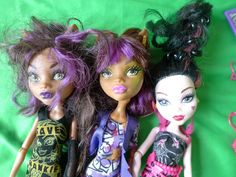 Mattel Toys Doll LOT of 3psc. MONSTER HIGH DOLLS with Clothes and Accessories #Mattel Monster High Dolls, Doll Toys, Kids Toys, Halloween Face Makeup, Games, Children, Books, Accessories, Clothes