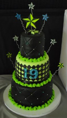 Lime green and black fondant with blue, silver and lime green hand painted nautical stars.