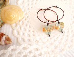Petite Fraise Handmade: Quiet morning on the beach  Summer hoop earrings   #etsy #handmade #jewelry #earrings #seaside #summer #sand #beach #aqua #lampwork #seaglass #shell