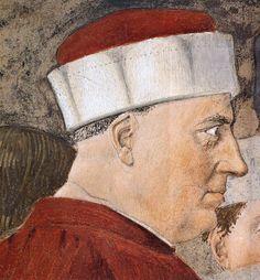 Piero della Francesca. 2b. Meeting between the Queen of Sheba and King Solomon (1452-66), Detail. Fresco. San Francesco, Arezzo