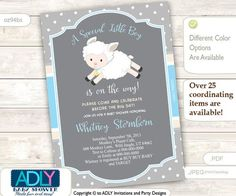 Boy Lamb Baby Shower Invitation for a Boy by aoprintablesforkids