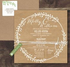 rustic leaf wreath white ink on kraft invitation - stunning crisp white ink so striking for this cute folky design on earthy brown thick board