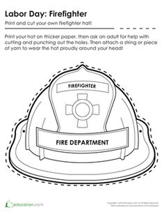 Fire fighter hat pattern and craft activity fire safety for Firefighter hat template preschool