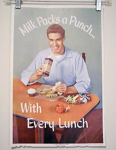 Vintage School Poster - Milk Packs A Punch - National Dairy Council 1957. $15.95, via Etsy.