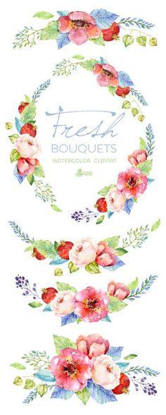 Frische Blumensträuße & Kranz. Blumen Aquarell von OctopusArtis