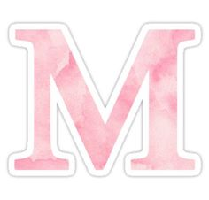 """""""The Letter M- Light Pink Watercolor Design Sticker"""" Stickers by Claire Andrews Watercolor Lettering, Watercolor Design, Pink Watercolor, Aesthetic Letters, Aesthetic Stickers, Tumblr Stickers, Cool Stickers, Lettering Design, Hand Lettering"""