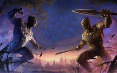 Télécharger fonds d'écran Erik Killmonger vs Black Panther, les super-héros, les combats, Marvel Concours Des Champions, Erik Killmonger, Panthère Noire