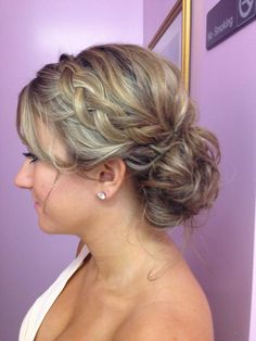 Bridesmaid hair. Bridesmaids can do whatever they would like as long as there is a braid in their hair.