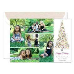 Printed on luxurious soft paper, this colorful holiday card features five of your favorite photos printed on the left side of the card. A tree made out of colorful confetti and the current year as a stump accents the right side of the. Confetti Photos, Holiday Greeting Cards, Photo Cards, Making Out, Prints, Printmaking