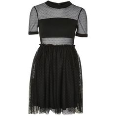 Topshop Spot Mesh Tulle Prom Dress (€53) ❤ liked on Polyvore featuring dresses, topshop, vestidos, tulle mini dress, tulle prom dress, mini cocktail dress, polka dot prom dress and tulle dress
