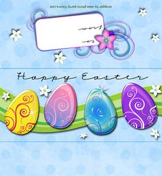 FREE Printable Easter Eggs Candy Bar Wrapper! More printables at http://www.photo-party-favors.com/