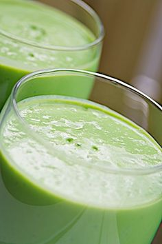 A spinach and avocado smoothie. I've never tried mine with avo, might have to do that.