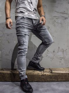 09b48304e13f6 Washed gray slim fit jeans with stitched patches on the front. PLEASE NOTE  THE LENGTH