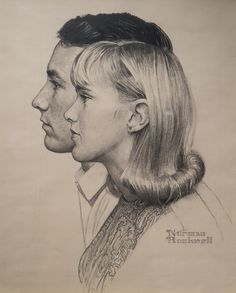 'Berkshire Community College Students' - by Norman Rockwell, 1967 (charcoal on paper, 19 x 14⅝ inches)