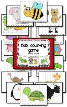 Skip Counting Game Animal Theme- 22 different skip counting sheets for primary classrooms!
