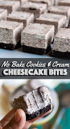 Get ready for summer with these No Bake Cookies and Cream Cheesecake Bites made with a no bake Oreo crust and a creamy cheesy filling that sets in the freezer. Forget your stove and your oven this easy no bake Oreo cheesecake recipe is where its at No Bake Oreo Cheesecake, Cookies And Cream Cheesecake, Homemade Cheesecake, Classic Cheesecake, Oreo Fudge, Oreo Brownies, Raspberry Cheesecake, Oreos, Easy Desserts