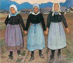 Ernest Biéler. Trois jeunes filles de Savièse, 1920