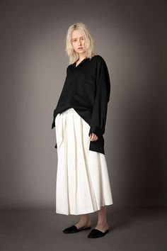 2021-22 A/W 008, Grampians Washable Wool Twill Tailored Baggy Shirt FRC-B04-106, Stretch Twill Pleated Wrap Around Skirt FRC-S01-502 Wrap Around Skirt, Normcore, Skirts, Style, Fashion, Gowns, Swag, Moda, Skirt