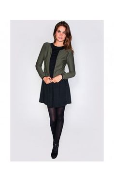Khaki Blazer with Studs on Shoulder - JACKETS/COATS