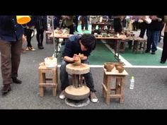 """ひかるの蹴轆轤2 Pottery making with a kick wheel. His name is """" Hikaru """". - YouTube"""
