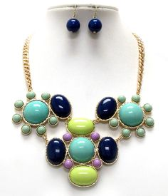 Blue and Green Oval and round necklace.  $25.00