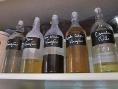 Repurpose your old containers.    Use sparkling lemonade bottles to store vinegars and oils.
