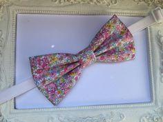 Noeud Papillon Liberty élégant blanc et fleurs rose pastel Homme : Cravates par fleurs-de-provence