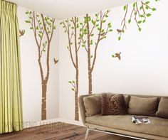 """WE SHIP WORLDWIDE!!!    Size can be customized based on your wall size   Please contact us for more details    Original design.   [ SIZE ]   Tree Size (approx):  1 x 32""""w x 101""""h  1 x 37""""w x 101""""h  1 x 40""""w x 101""""h    [ WHAT'S IN THIS SET ]   > 3 x 101"""" tree  > leaves  > birds   > Installation & removal instruction   > FREE Test Decal for practicing before applying your actual wall decal.     [ CHOOSE ANY 1 COLOR ]   > big tree (choose 1 color)        IMPORTANT: When placing your order…"""