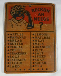 "Vintage Black Americana Wooden Mammy ""RECKON AH NEEDS"" Kitchen Sign Grocery List"