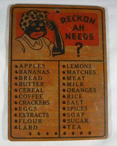 "Vintage Black Americana Wooden Mammy ""RECKON AH NEEDS"" Kitchen Sign Grocery List"