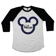 Custom Mickey Mouse Personalized Shirt For Boys - Disney Raglan Tee with Boy's Name Blue