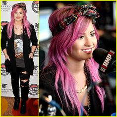 Demi Lovato Shows Off New Pink Hair for Grammys Interviews! | 2014 Grammys Weekend, Demi Lovato : Just Jared