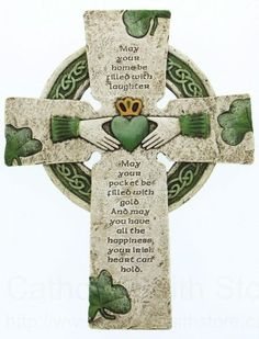 """Irish Celtic claddagh Blessing Wall Cross May your home be filled with laughter May your pockets be filled with gold And may you have all the happiness Your Irish heart can hold."""" Made of resin and stone mix Measures tall Irish Prayer, Irish Blessing, Irish Proverbs, Irish Quotes, Short Irish Sayings, Scottish Quotes, Irish American, American Women, American Art"""