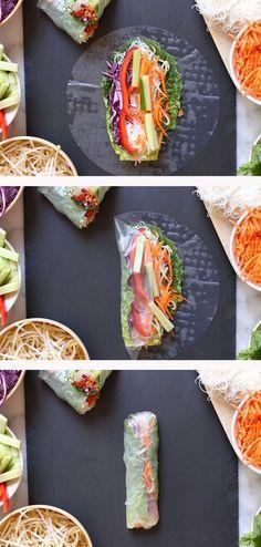 Veggie spring rolls with spicy peanut dipping sauce - vegan & gluten free