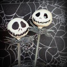 Jack Skellington Cake Pops -- Bake to perfection with Baker's Joy cooking spray! - bakersjoy.com #cakepop #spooky #yummy