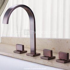 Vintage Design Cascade mural bronze huilé robinet de baignoire Salle de bains avec douche à main - EUR € 131.99