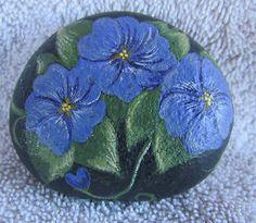 Hand Painted Rock Art Purple Flowers by KS Collins   eBay