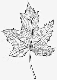 Zentangle Art Leaf Template · Art Projects for Kids Classe D'art, Fall Art Projects, Thanksgiving Art Projects, Leaf Projects, Zentangle Patterns, Zentangles, Doodle Patterns, Leaf Art, Line Patterns