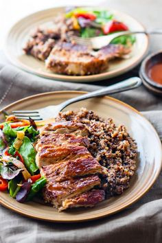 Easy Gluten free ONE-POT BBQ Cherry Pork Chops and Quinoa. A super simple gluten free one-pot meal that feeds the family Healthy, nourishing, and delicious.