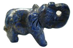 """Elephant Carving Lapis Lazuli. Is an elephant your totem animal? """"Elephant's medicine includes strength, royalty, connection to ancient wisdom, removal of obstacles and barriers, confidence, patience, commitment, gentleness, communicating in relationships, intelligence, compassion. If this is your animal guide, these virtues are a part of your natural character. By applying them in your life soul evolution is accomplished.""""  Ina Woolcott"""