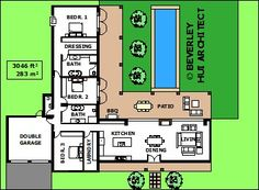 L-SHAPED HOUSE PLANS WITH POOL | VARIOUS SIZE ARCHITECT DESIGNED