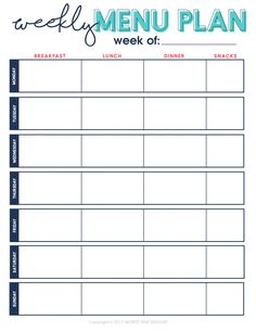 Weekly Menu Plan All Meals Printable Planning
